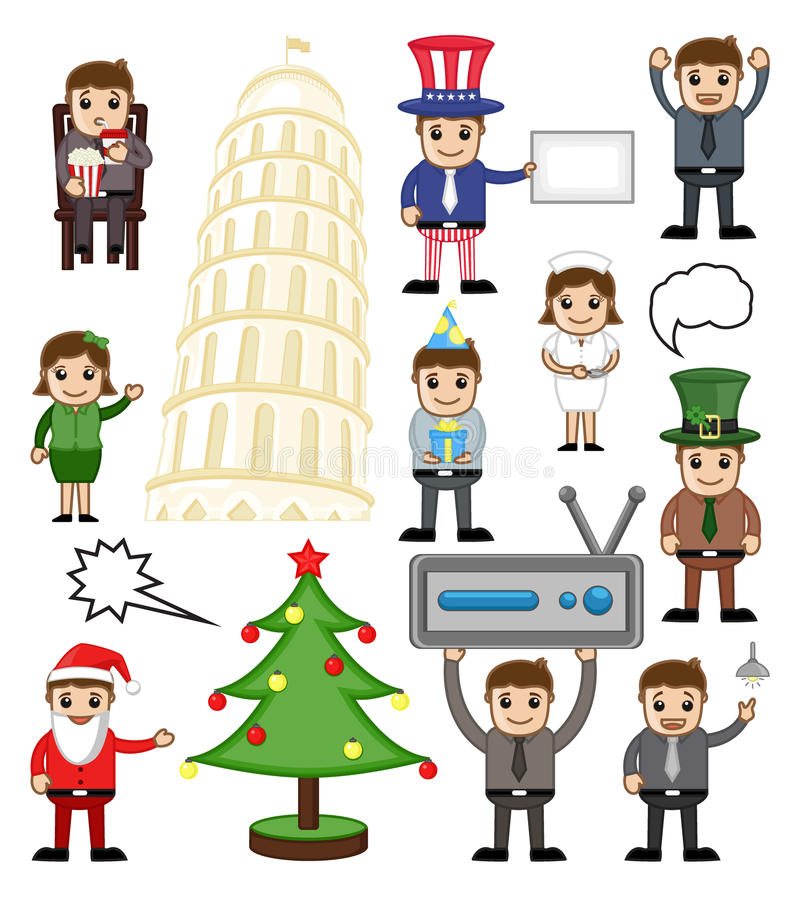 Various Holiday and Business Cartoon People vector illustration