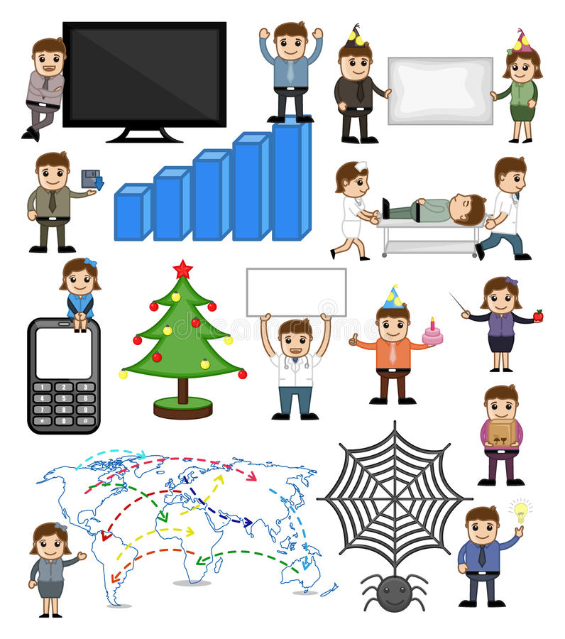 Various Holiday and Business Related Cartoon Vectors vector illustration
