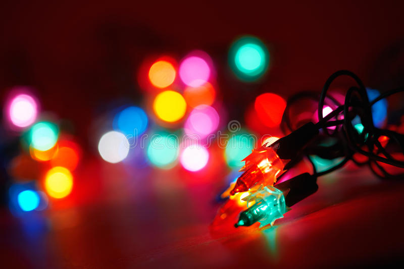 Various holiday lights. Selective focus royalty free stock photo