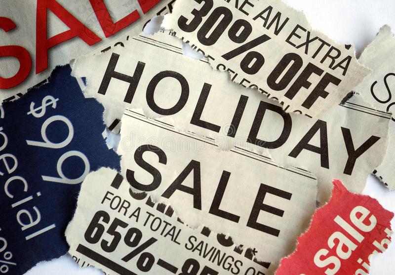 Various holiday on sale signs stock photography