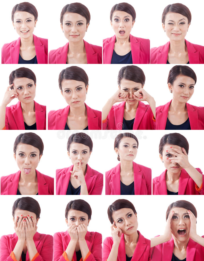 Various Human Face  Expressions Royalty Free Stock Images