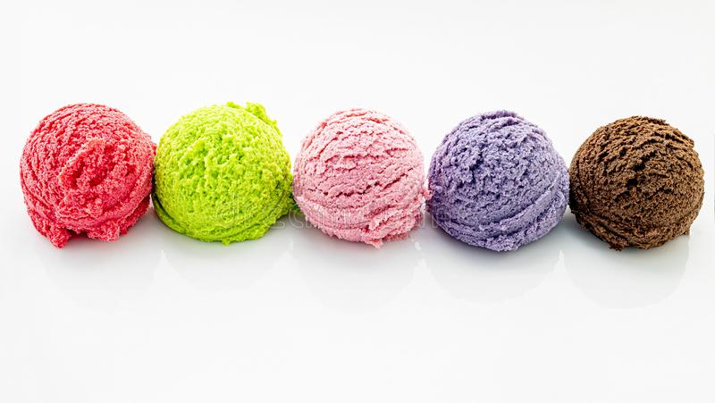 Various of ice cream flavor ball  isolate on white background stock photo