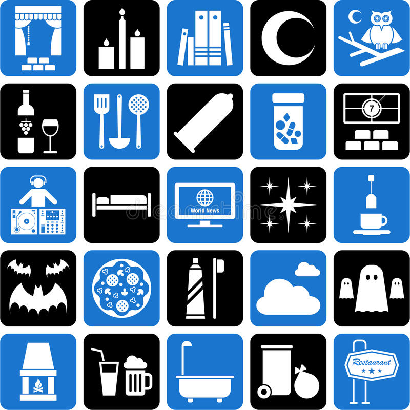 Download Various icons stock vector. Image of black, books, hotel - 26812951
