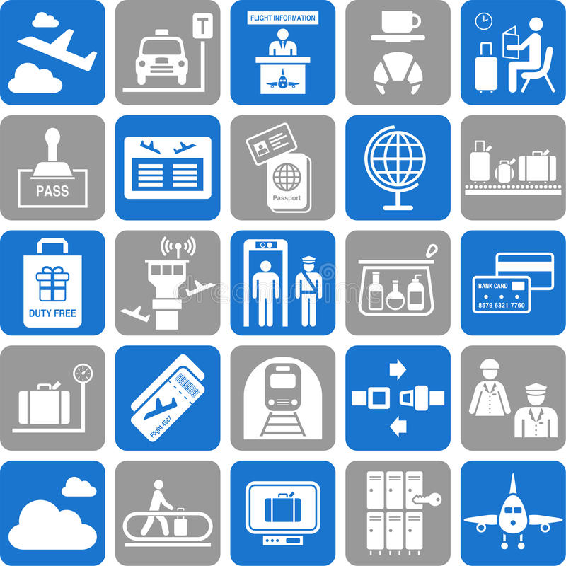 Download Travel icons stock vector. Illustration of luggage, passenger - 30061141