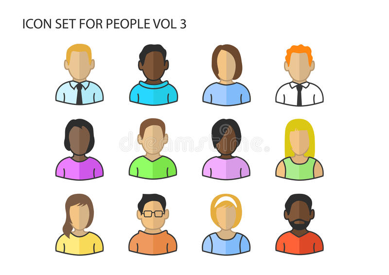 Various icons / symbols of diverse avatar heads and faces of different skin colors.  stock illustration