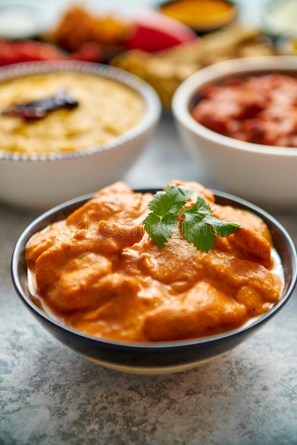 Various Indian dishes on a table. Mild butter chicken in caramic bowl royalty free stock photography