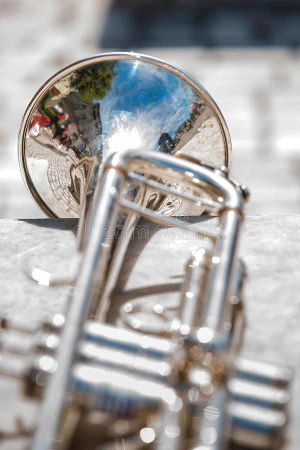 Various instruments and details from a music band of windband. Close up and details of playing musicians, instruments in a marching, show band or music band stock photography