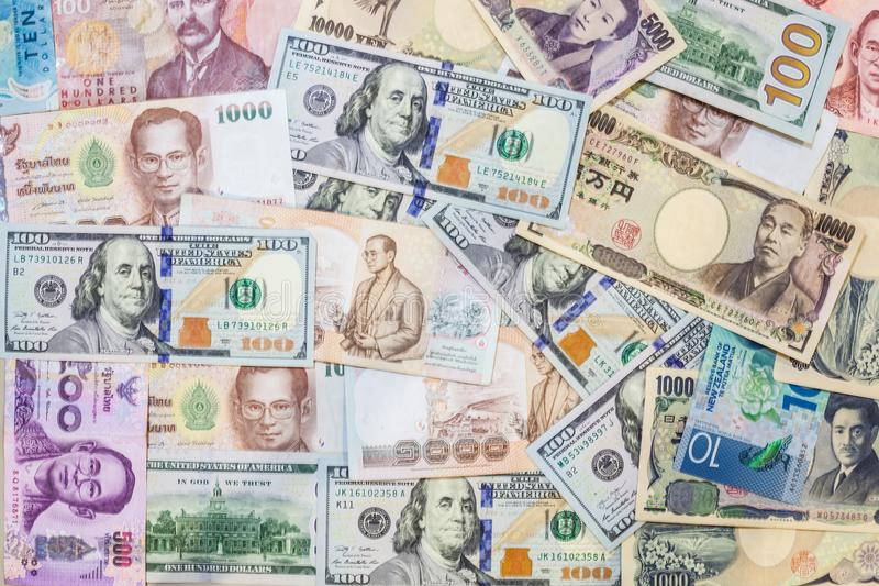 Various international foreign currency banknotes background. International trade, money cross border concept stock photography