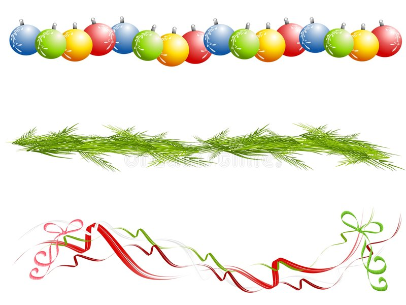 Various Isolated Christmas Borders vector illustration