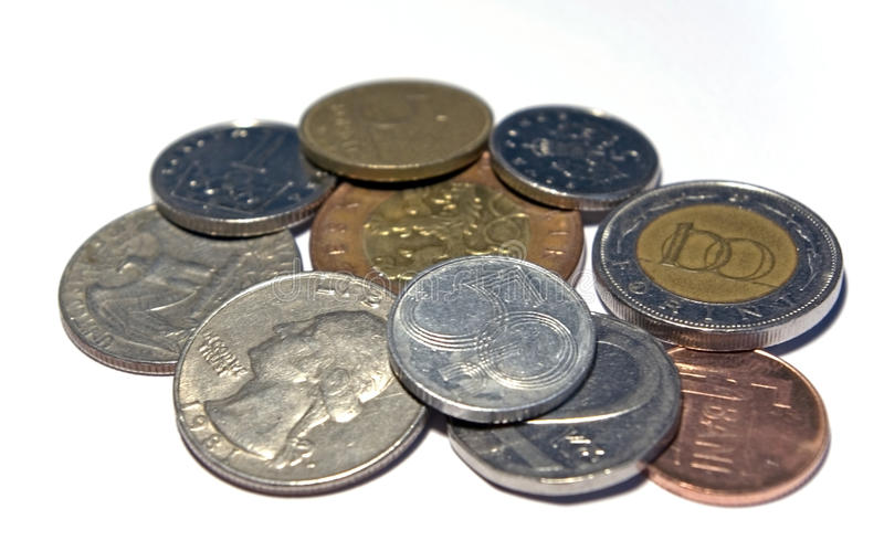 Various isolated coins stock image