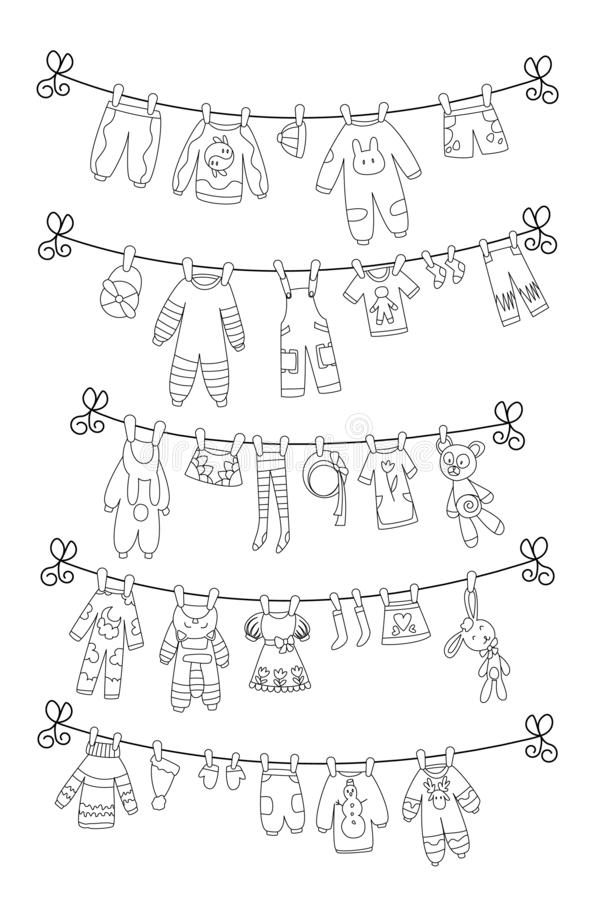 Various items of baby clothes on rope isolated coloring vector illustration. Laundry held by plastic pegs drying. stock illustration