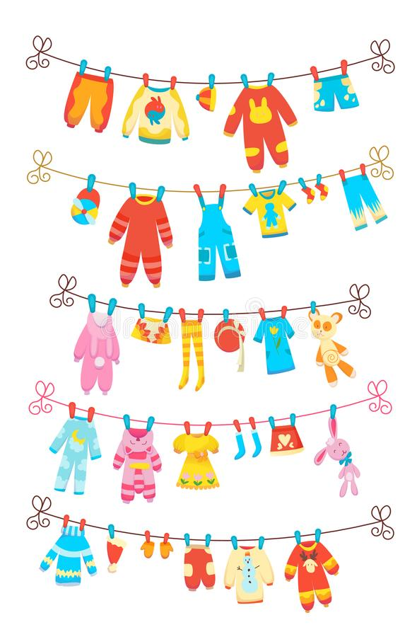 Various items of baby clothes on rope isolated vector illustration on white background. Laundry held by plastic pegs royalty free illustration