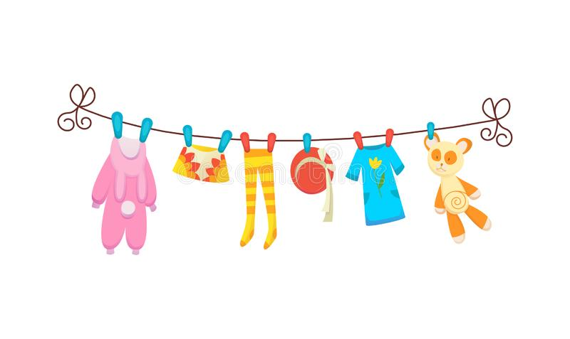 Various items of baby clothes on rope isolated vector illustration on white background. Laundry held by plastic pegs vector illustration