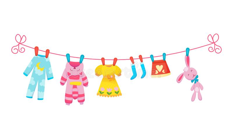 Various items of baby clothes on rope isolated vector illustration on white background. Laundry held by plastic pegs. Drying stock illustration