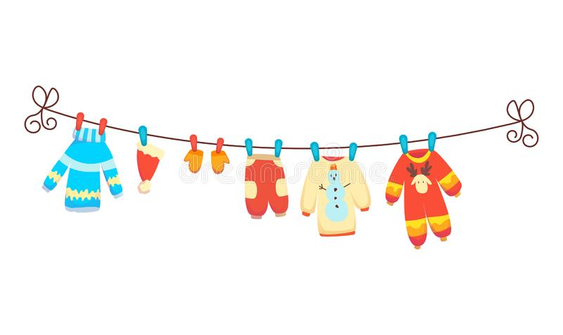 Various items of baby clothes on rope isolated vector illustration on white background. Laundry held by plastic pegs. Drying royalty free illustration
