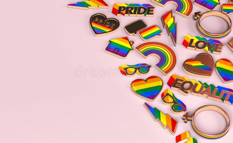 Various items connected with gay pride laying flat on pastel pink background. Top view with copy space on the left. 3D rendering royalty free illustration