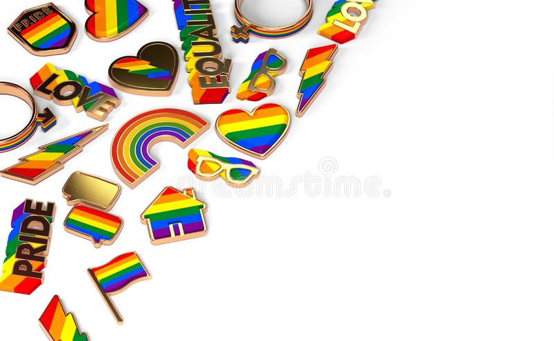 Various items connected with gay pride laying flat on white background. Top view with copy space on the right. 3D rendering royalty free illustration