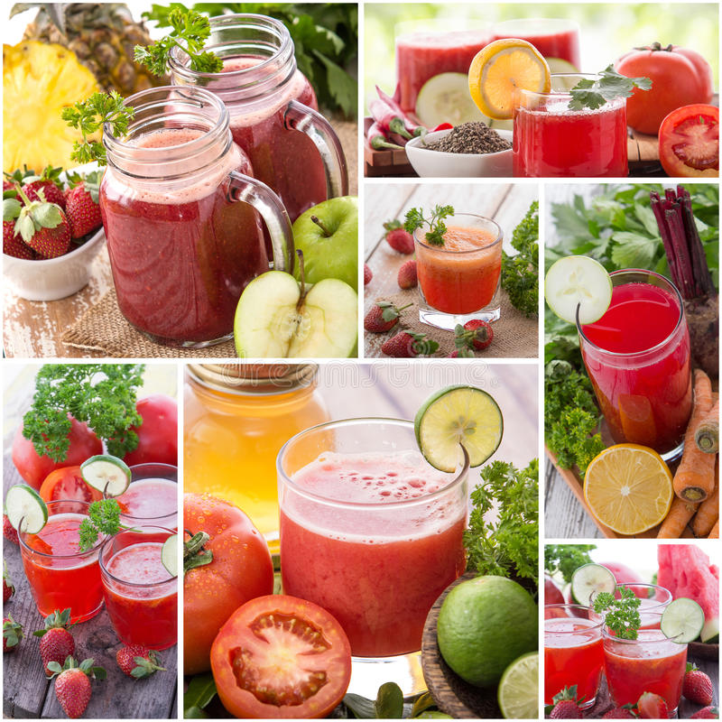 Various juices from mix tropical fruit royalty free stock image