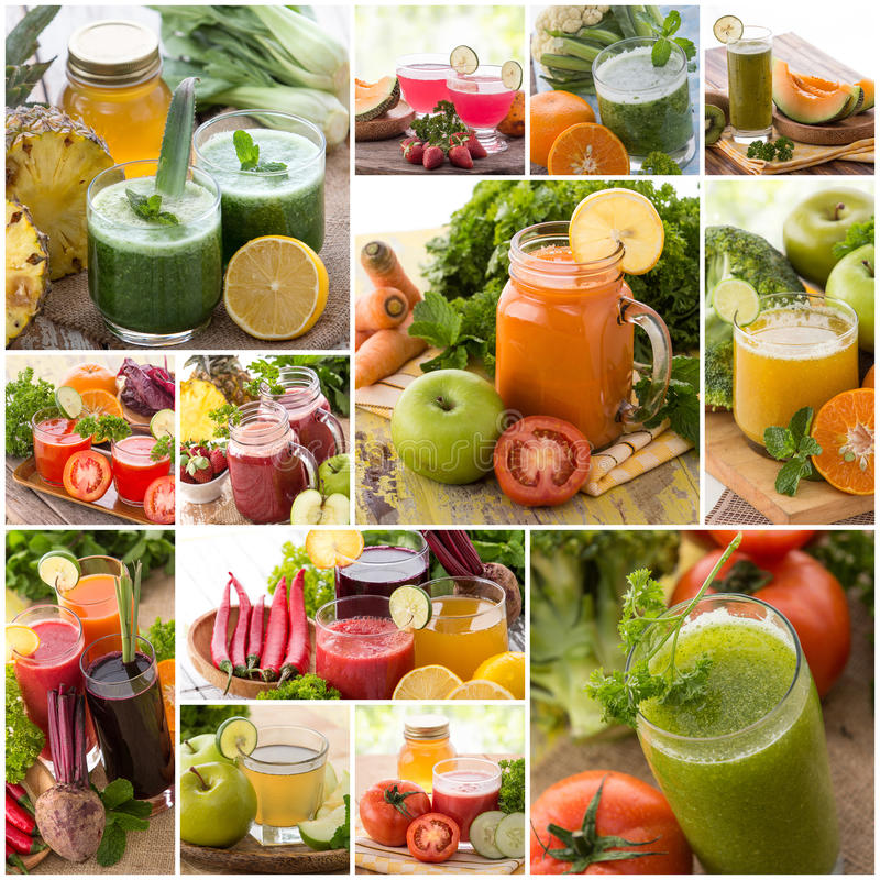 Various juices from mix tropical fruit stock photo