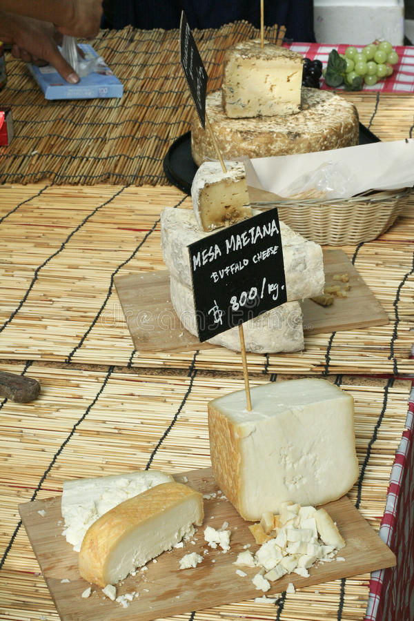 Various kind of cheese at a local market stock photo