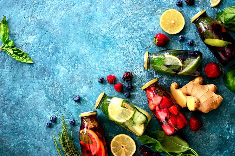 Various kind of detox spa infused water royalty free stock photography
