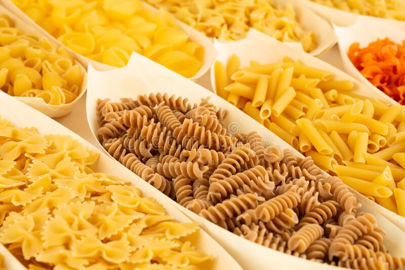 Various kind of pasta royalty free stock photography