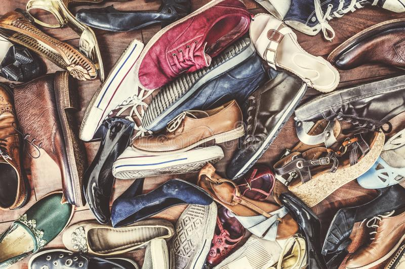 Various kind of shoes on background royalty free stock photography