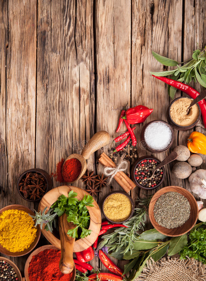 Various kind of spices stock photography