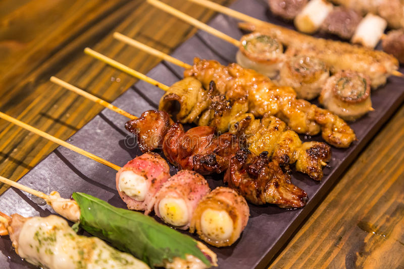 Various kind of traditional japanese bbq grilled chicken - Yakitori royalty free stock photos
