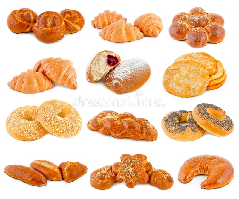 Various kinds of bread on a white background royalty free stock photo