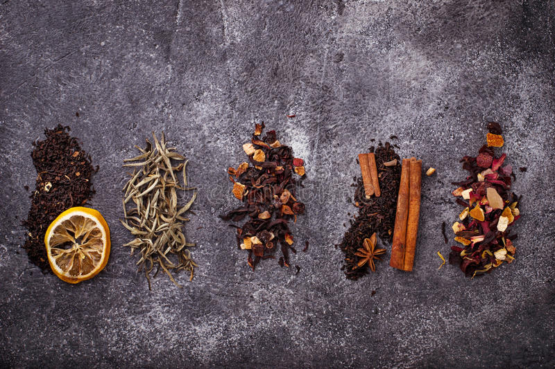 Various kinds of dry tea royalty free stock photography