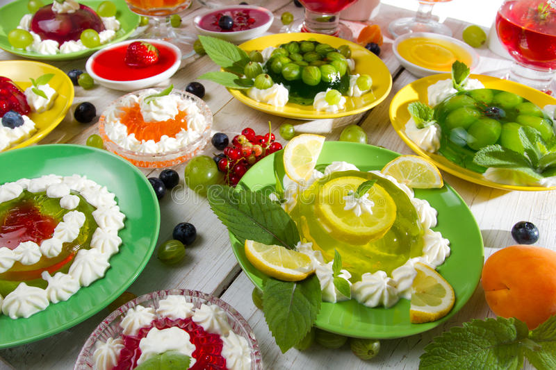 Various kinds of fruit jelly royalty free stock photos