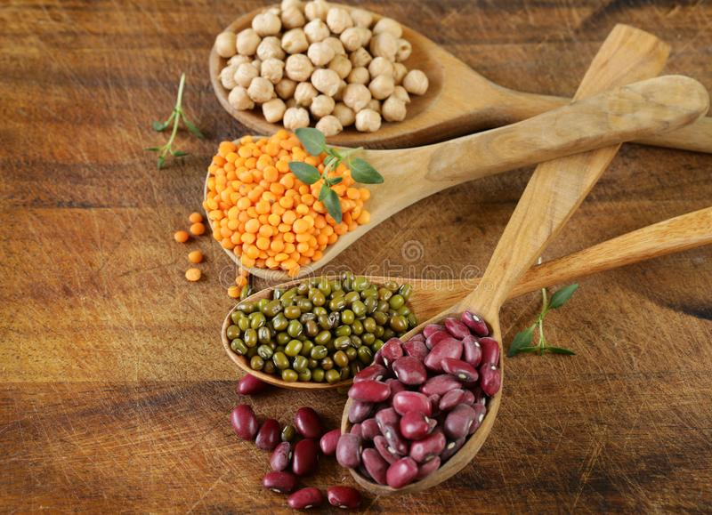 Various kinds of legumes - beans, lentils, chickpeas, mung stock image