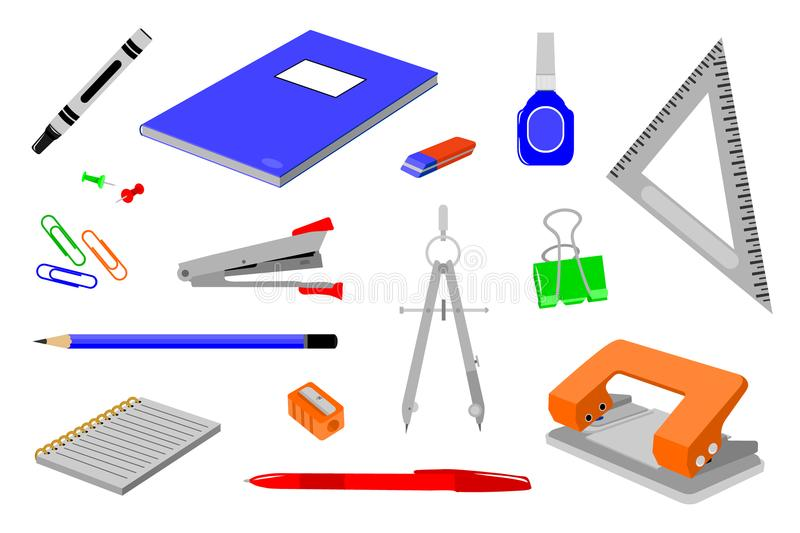 Various kinds of office stationery. Various stationery for office and school needs royalty free illustration