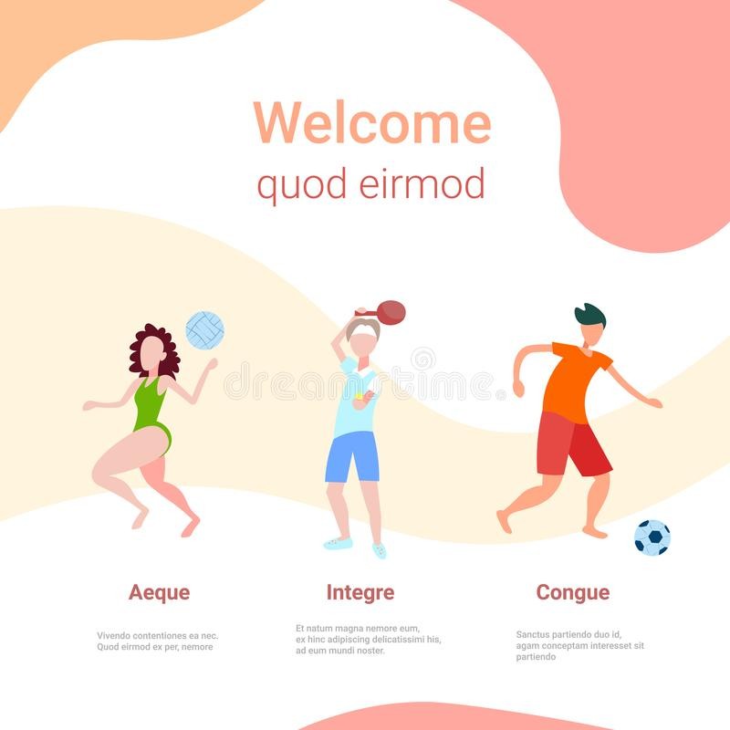 Various kinds sport information board female male activity cartoon character copy space full length flat. Vector illustration vector illustration