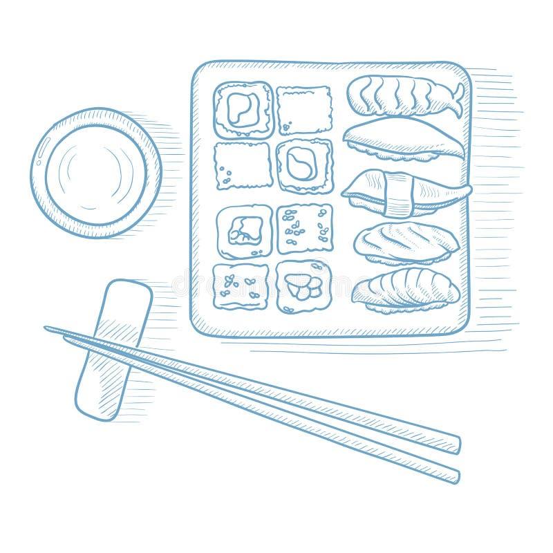 Various kinds of sushi. Various kinds of sushi served on a plate. Sushi served on a plate hand drawn on white background. Sushi vector illustration. Sushi stock illustration