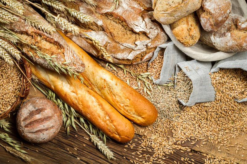 Various kinds of whole wheat bread stock photos
