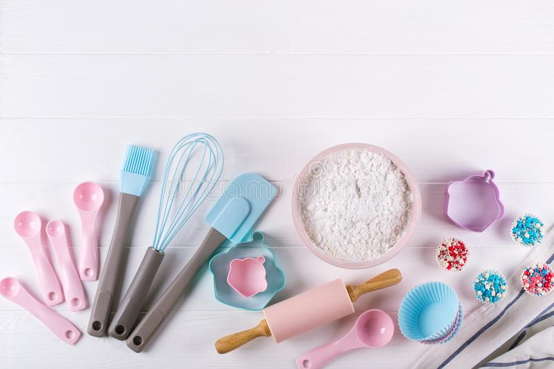 Various kitchen baking utensils. Flat lay. mockup for recipe on white background. stock image