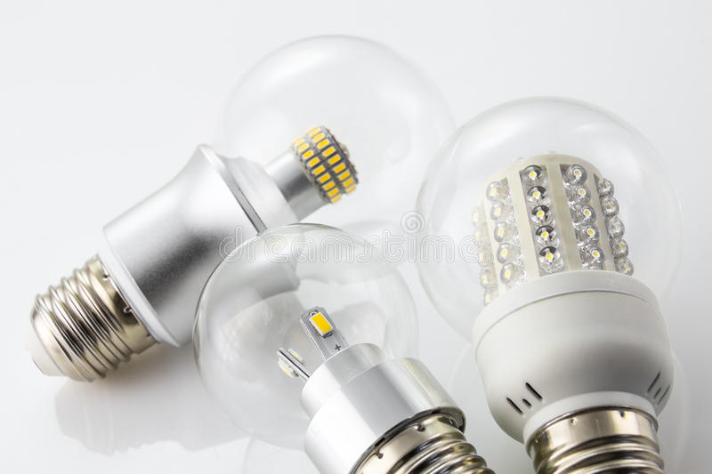 Various LED bulbs similar to the old tungsten bulb E27. Various LED bulbs E27 made with similar to the old tungsten bulb E27 stock photos