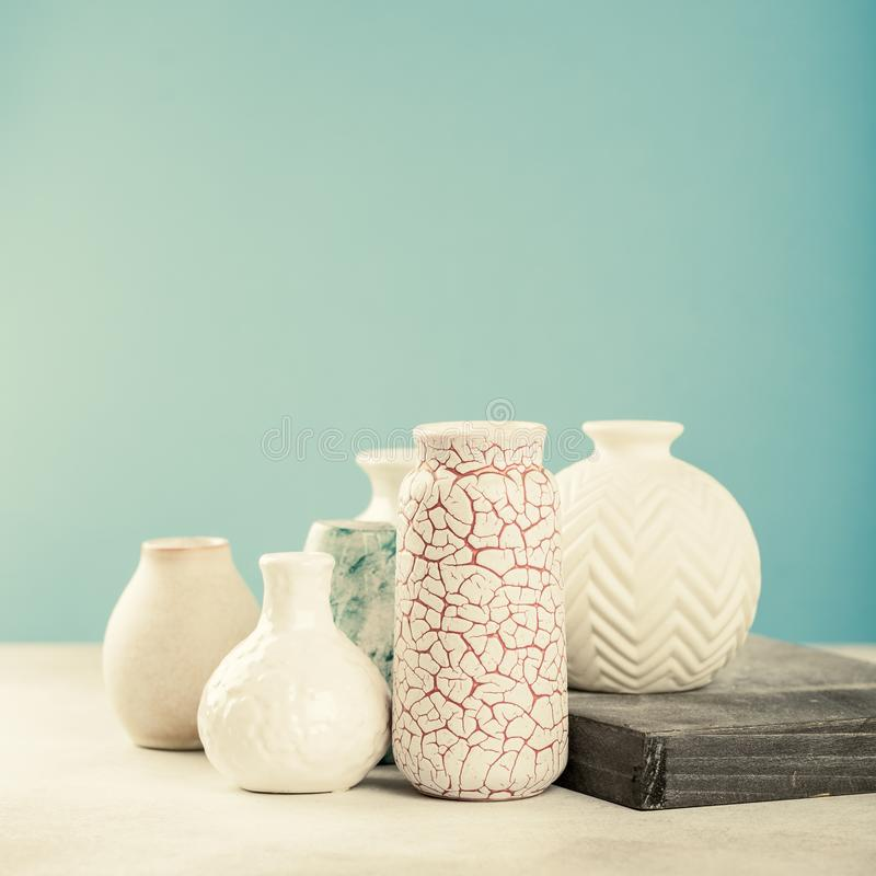 Various light colored vases stock photos