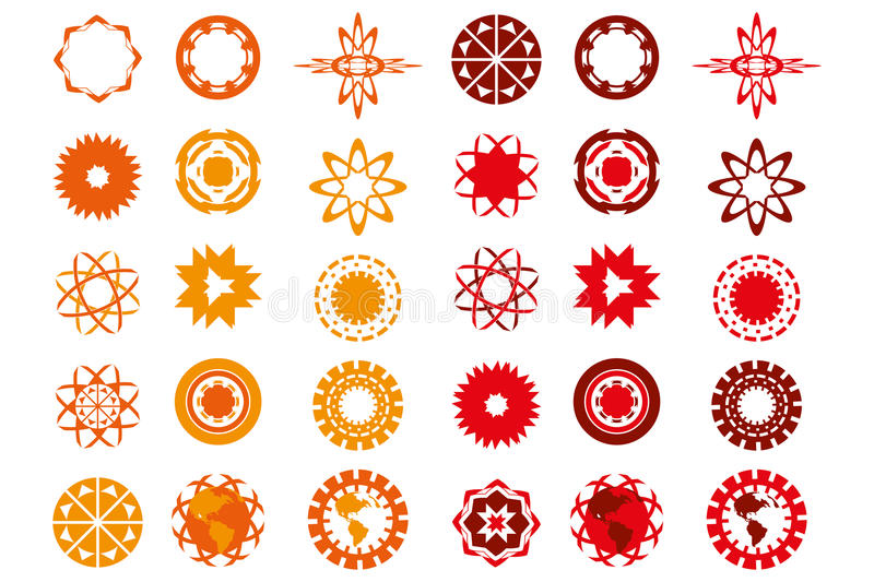 Various logo-designs in red and orange colors isolated over whit. Various logo designs in red and orange colors isolated on white - useful for designers - logo stock illustration