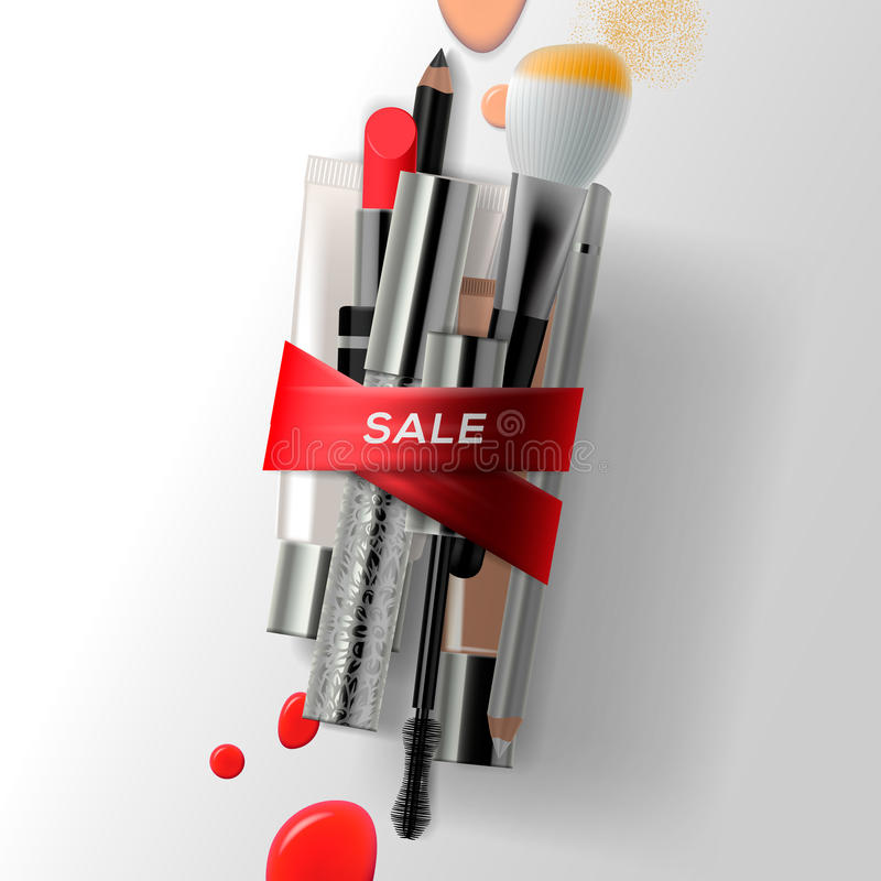 Various makeup brushes and cosmetics with red ribbon. Sale poster vector illustration