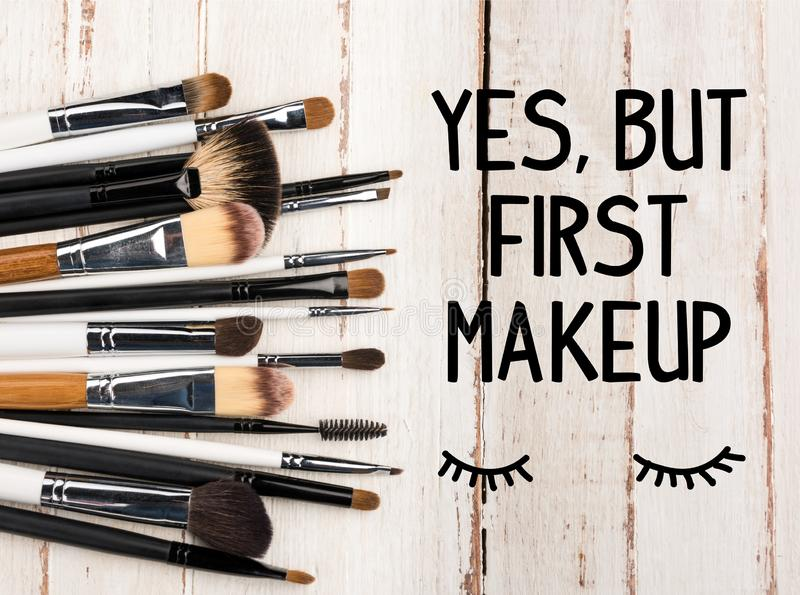 various makeup brushes royalty free stock photos