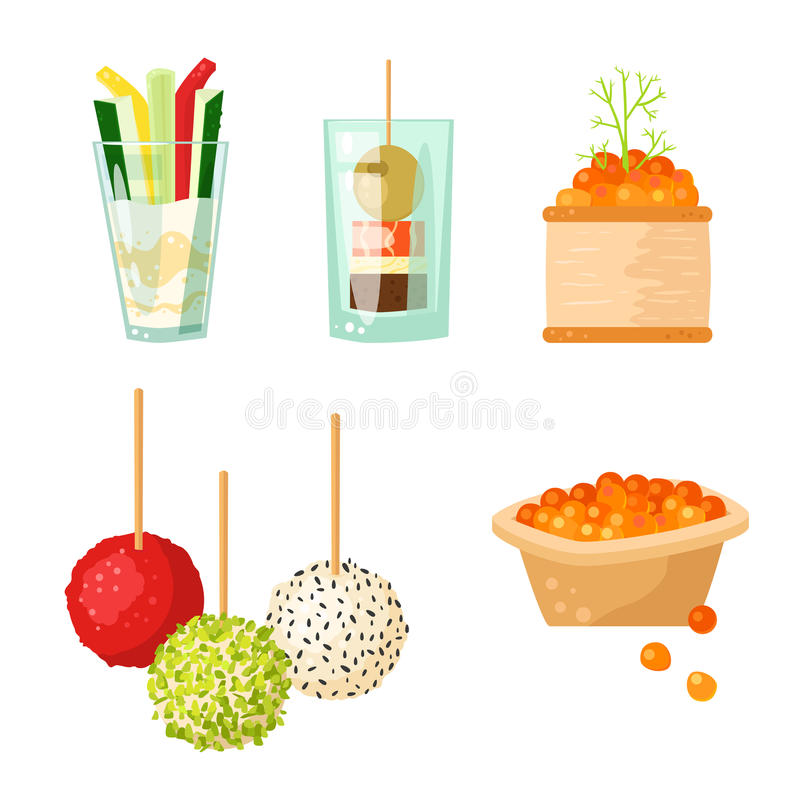 Various meat canape snacks appetizer fish and cheese banquet snacks on platter vector illustration. vector illustration