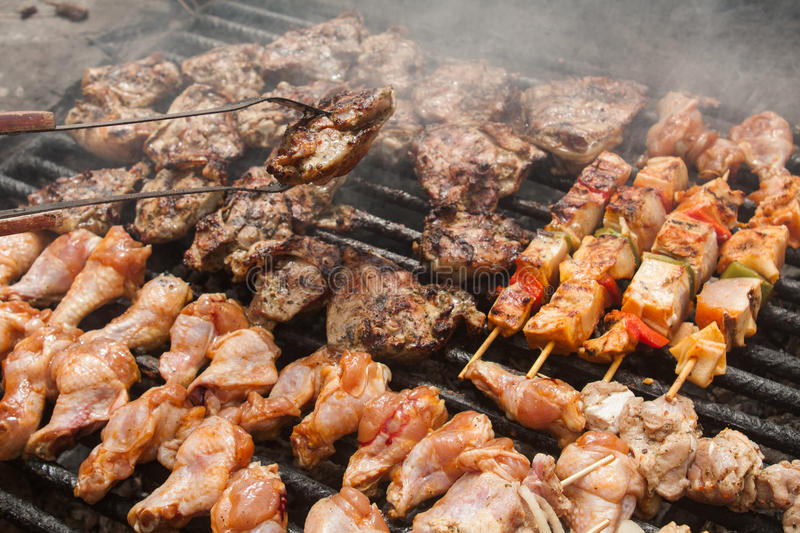 Various meat chicken wings steaks grilled royalty free stock photos