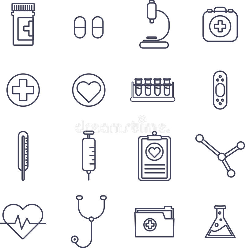 Various medical equipment vector icons royalty free illustration