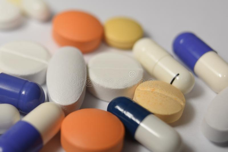 Various Medical pills and royalty free stock image