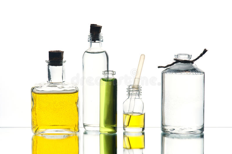 Various medicine or cosmetic bottles royalty free stock photography