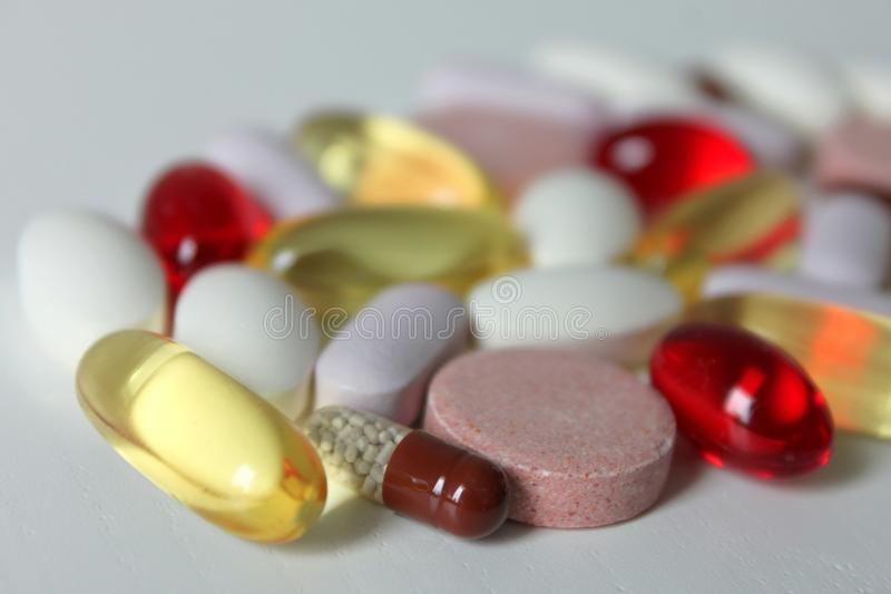 Various medicines and pills royalty free stock photos