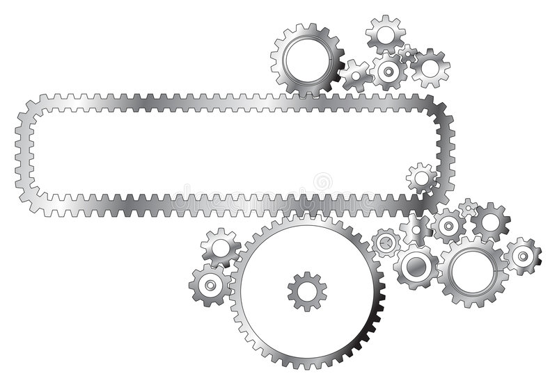 Various metal cogwheels royalty free illustration